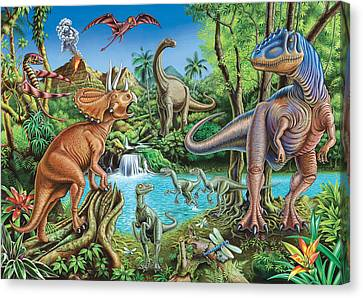 Lush Colors Canvas Print - Dinosaur Waterfall by Mark Gregory
