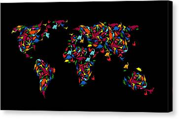 Dinosaurs Map Of The World   Canvas Print
