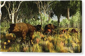 Diprotodon On The Edge Of A Eucalyptus Canvas Print by Arthur Dorety
