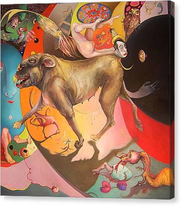 Diptyching Around #1 Canvas Print by Linda Horsley