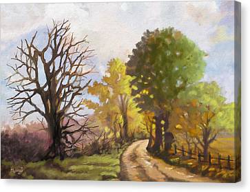Canvas Print featuring the painting Dirt Road To Some Place by Anthony Mwangi