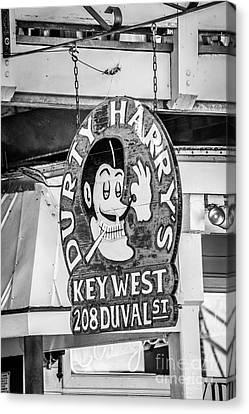 Dirty Harry's Key West - Black And White Canvas Print