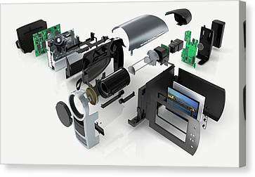 Disassembled Parts Of A Camcorder Canvas Print by Dorling Kindersley/uig