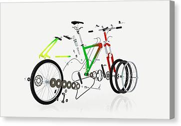 Disassembled Parts Of A Mountain Bike Canvas Print by Dorling Kindersley/uig