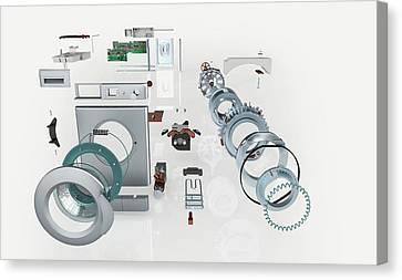 Washing Machine Canvas Print - Disassembled Parts Of A Washing Machine by Dorling Kindersley/uig