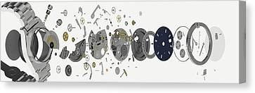 Disassembled Parts Of A Wristwatch Canvas Print by Dorling Kindersley/uig