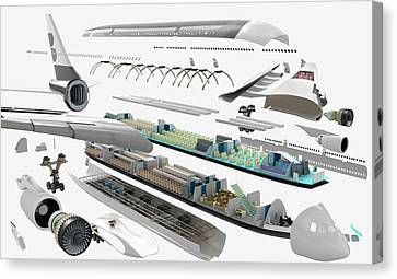 Disassembled Parts Of An Airbus Canvas Print by Dorling Kindersley/uig