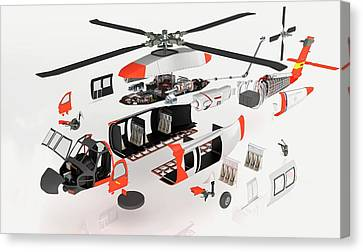 Disassembled Parts Of Military Helicopter Canvas Print by Dorling Kindersley/uig