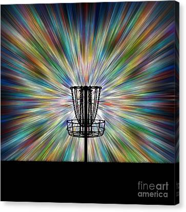 Disc Golf Basket Silhouette Canvas Print by Phil Perkins