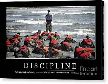 Discipline Inspirational Quote Canvas Print