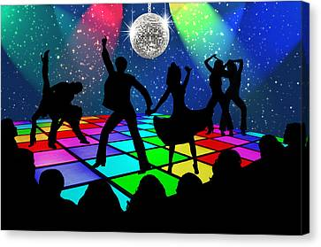 Canvas Print featuring the digital art Disco Fever by Nina Bradica