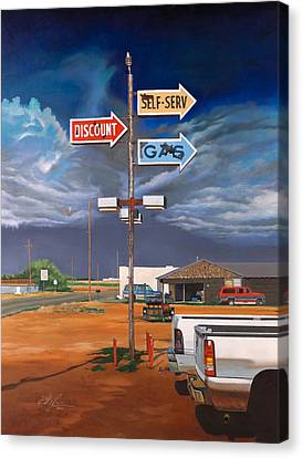 Discount Self-serv Gas Canvas Print by Karl Melton
