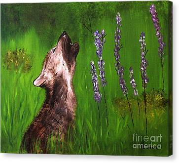 Canvas Print featuring the painting Discovering His Voice by Bev Conover