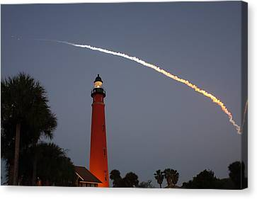 Discovery Booster Separation Over Ponce Inlet Lighthouse Canvas Print by Paul Rebmann