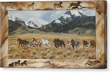 Canvas Print featuring the painting Discovery Horses Framed by Lori Brackett