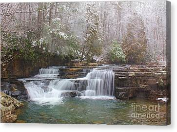 Dismal Falls In Winter Canvas Print by Laurinda Bowling