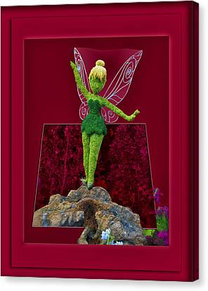Disney Floral Tinker Bell 02 Canvas Print by Thomas Woolworth