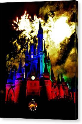 Disney Night Fireworks Canvas Print