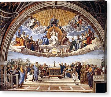 Disputation Of The Eucharist  Canvas Print by Raphael