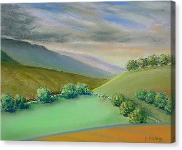Canvas Print featuring the painting Distant Hills by Jo Appleby