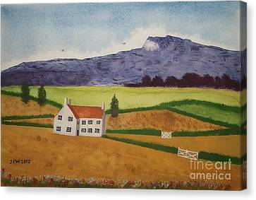 Canvas Print featuring the painting Distant Hills by John Williams