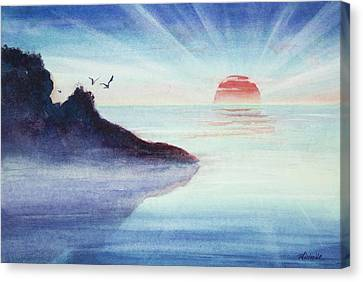 Distant Shoreline Sunrise Watercolor Painting Canvas Print by Michelle Wiarda