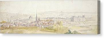 Distant View Of A Town With A Chateau Canvas Print by Adam Frans van der Meulen