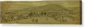 Distant View Of Emmettsburg,  Scene Of The Rebel Horse Raid Canvas Print