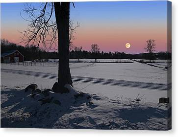 Canvas Print featuring the photograph Distant Winter Moonrise by Larry Landolfi