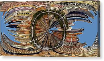 Distorted Lower Manhattan Canvas Print by Susan Candelario