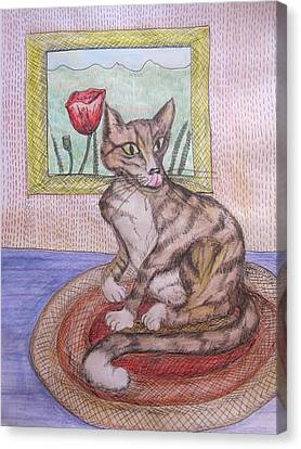 Distracted Cat Canvas Print by Cherie Sexsmith