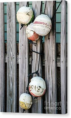 Distressed Buoys On Fencing Key West Canvas Print by Ian Monk