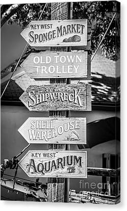 Distressed Key West Sign Post - Black And White Canvas Print by Ian Monk