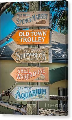 Distressed Key West Sign Post - Hdr Style Canvas Print by Ian Monk