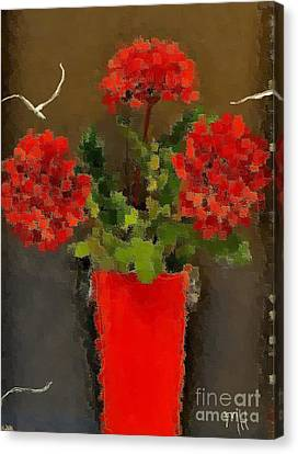 Distressed Red Flowers Pictures Canvas Print by Marsha Heiken