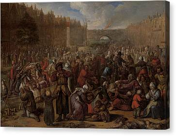 Distribution Of Herring And White Bread At The Relief Canvas Print
