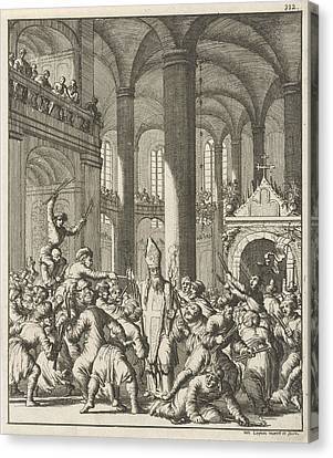 Distribution Of The Sacred Fire During Easter In The Holy Canvas Print by Jan Luyken