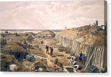 Flagstaff Canvas Print - Ditch Of The Bastion Du Mat, Plate by William 'Crimea' Simpson