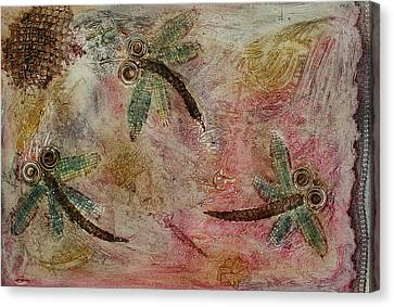 Rustic Dragonflies Pinks Canvas Print by Lyndsey Hatchwell