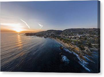 Turquois Water Canvas Print - Divers Cove Laguna Beach Aerial by Scott Campbell