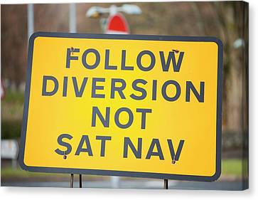 Diversion Road Sign Canvas Print