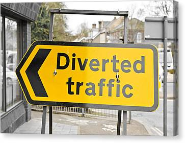 Diverted Traffic Canvas Print by Tom Gowanlock
