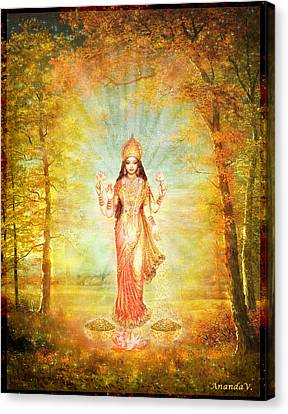 Lakshmi Vision In The Forest  Canvas Print by Ananda Vdovic