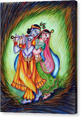 Canvas Print featuring the painting Divine Lovers by Harsh Malik