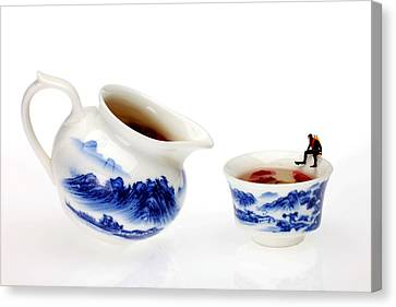 Diving Among Blue-and-white China Miniature Art Canvas Print by Paul Ge