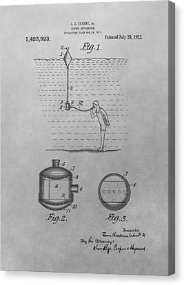 Diving Apparatus Patent Drawing Canvas Print by Dan Sproul