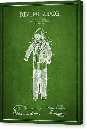 Diving Armor Patent Drawing From 1893 - Green Canvas Print by Aged Pixel