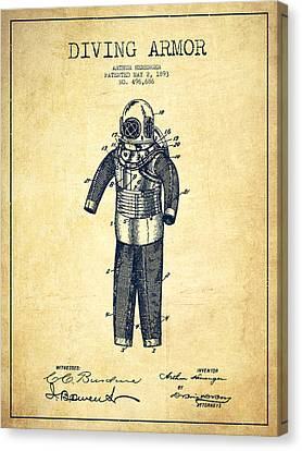 Diving Armor Patent Drawing From 1893 - Vintage Canvas Print by Aged Pixel