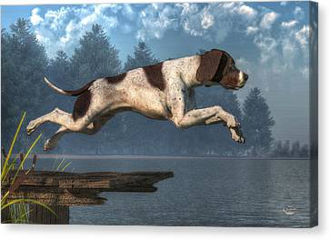 Diving Dog Canvas Print by Daniel Eskridge