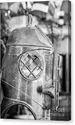 Diving Helmet Key West - Black And White Canvas Print by Ian Monk